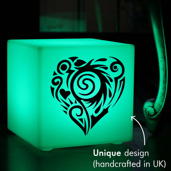 Creative Gift Lamp, Decorative Remote Controlled Wireless Table Bedside Lamp for Event, Cube , Heart Lamp Gift