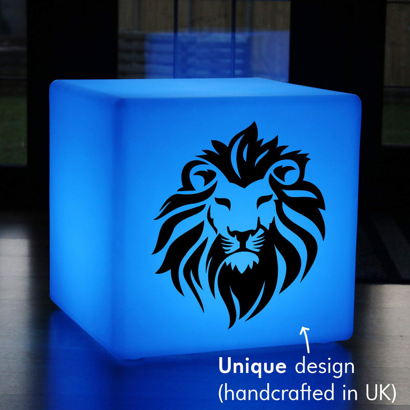 Original Handmade Light Gift for Her, Garden Dimmable Wireless Illuminated Stool for Wedding, Cube , Lion Light Gift