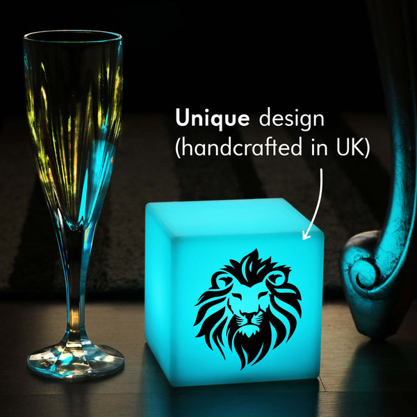 Creative Handmade Light Gift for Him, LED Colour Change Battery Operated Table Lamp for Hotel, Cube , Lion Lamp