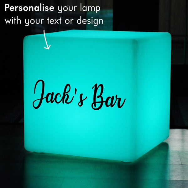Custom Text Gift Lightbox, LED Colour Change Cordless LED Stool for Hotel, Cube 60 x 60 cm