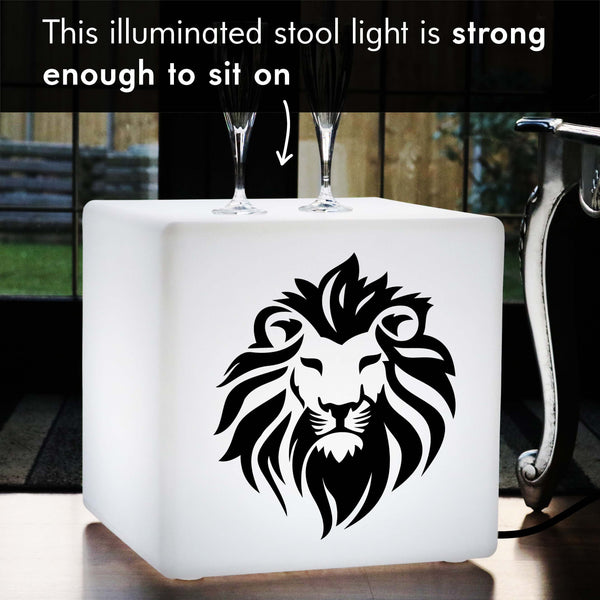 Funky Gift Lamp, Bedroom LED Stool Seat for Bar, Cube , E27, White, Lion Face Gift Light
