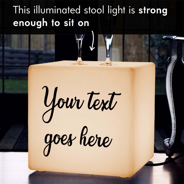 Thoughtful Custom Gift Light Box, Bedroom Floor Lamp Stool for Birthday, Cube 40 x 40 cm, E27, Warm White