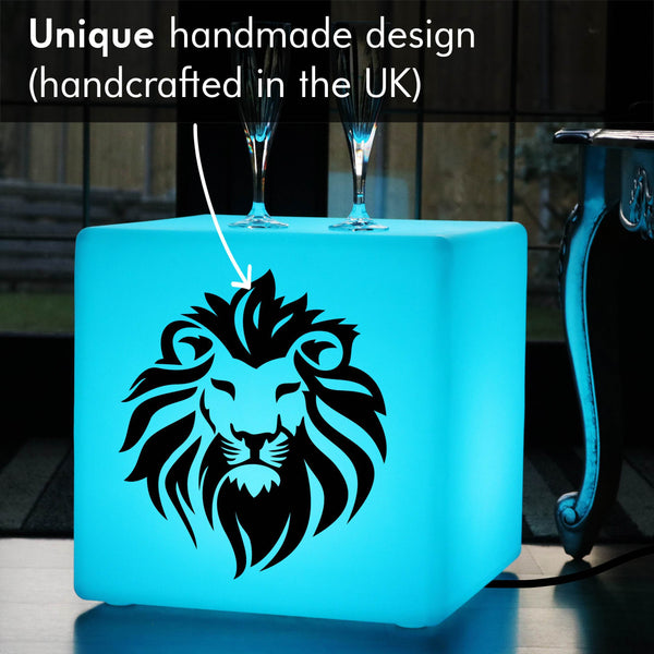 Unique Gift Light for Him, LED Ambient LED Seat for Hotel, Cube , Mains Powered, Lion Head Light