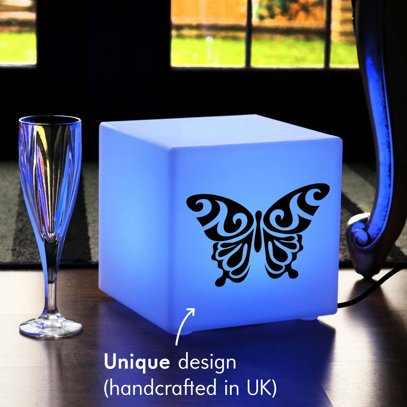 Hand Made Lightbox, Living Room Dimmable Table Bedside Lamp for Nightclub, Cube , Mains Powered, Butterfly Gift Lamp