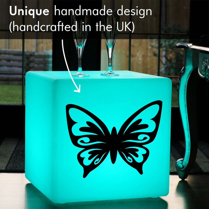 Unique Handmade Gift Light for Her, Waterproof Colour Change Rechargeable Light Up Seat for Night Club, Cube , Butterfly Gift Lamp