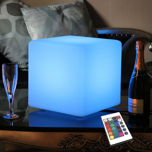 30cm LED Cube RGB Table Lamp, Mains Powered, Colour Changing, Dimmable