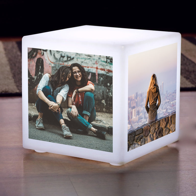 Custom LED Photo Cube Light Box, Personalised E27 Table Centre Display Lamp, 30 x 30 cm