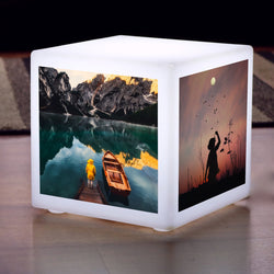 Personalised LED Light Box with Photo, Custom Gift Cube, Wireless Table Lamp 30 cm