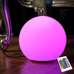 Table Lamp + Remote, 30cm LED RGB Decorative Bedside Sphere Mood Light