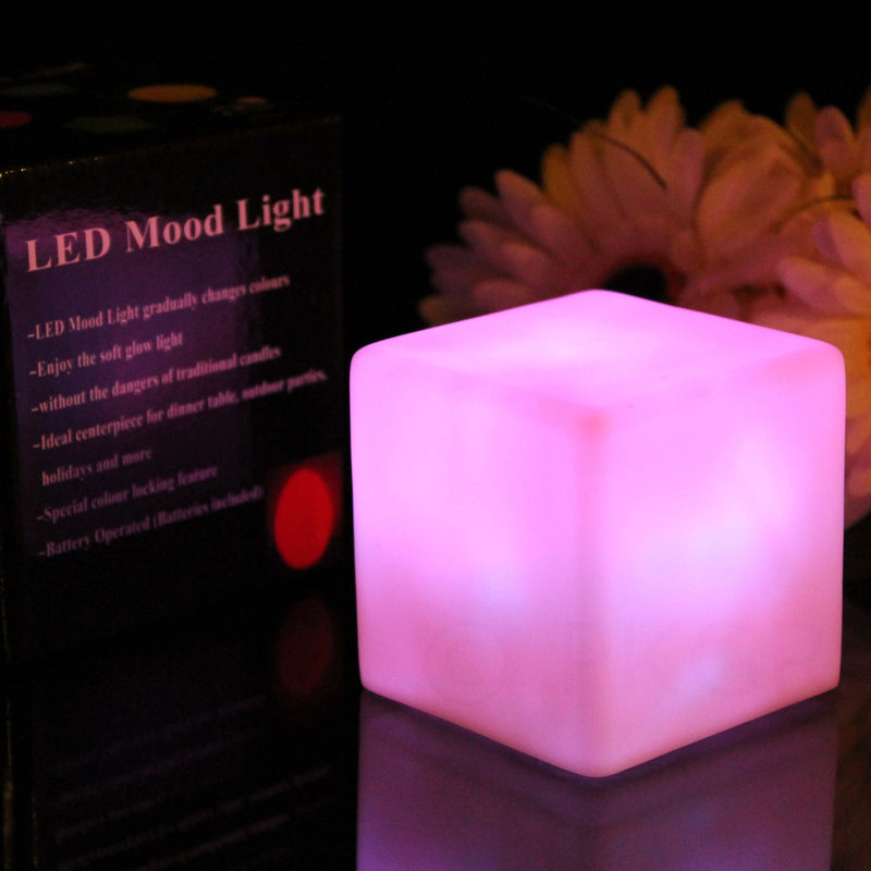Cube mood lamp glowing amber