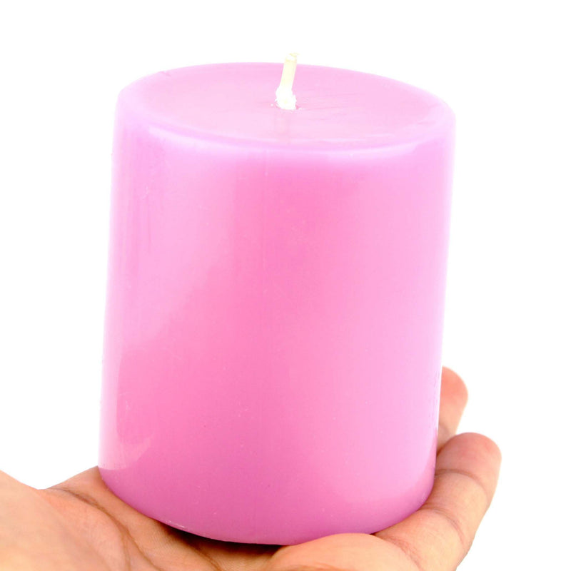 small pillar candle 3 inches pink wax