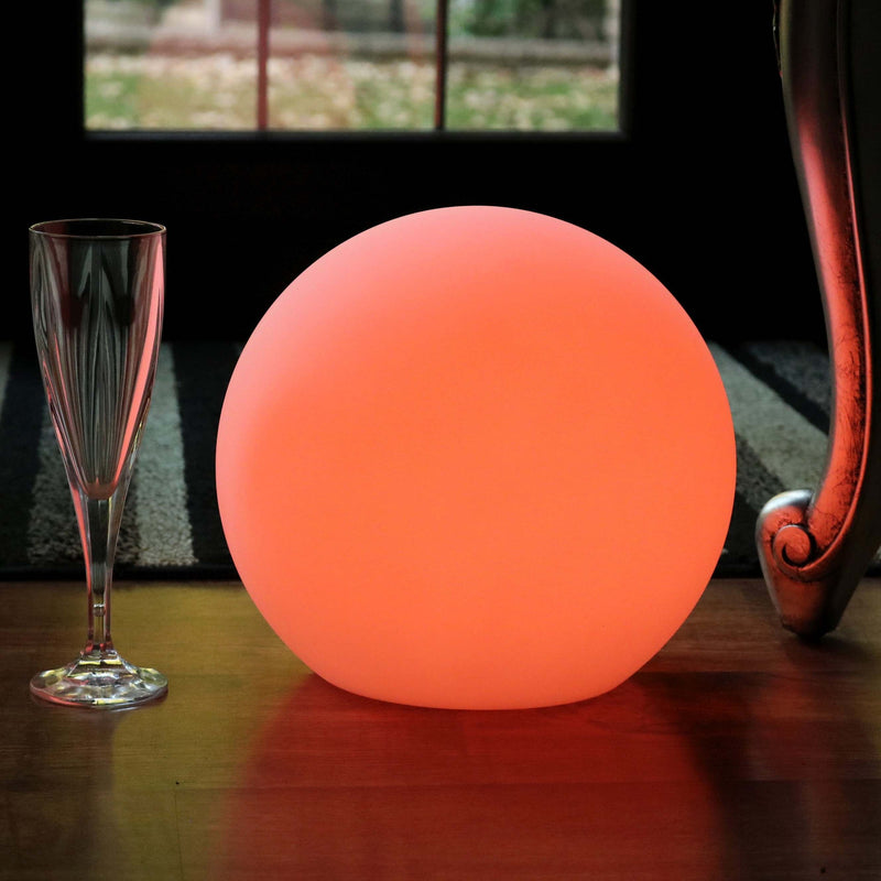 LED Table Lamp Lighting, 25cm Cordless RGB Sphere Night Light + Remote