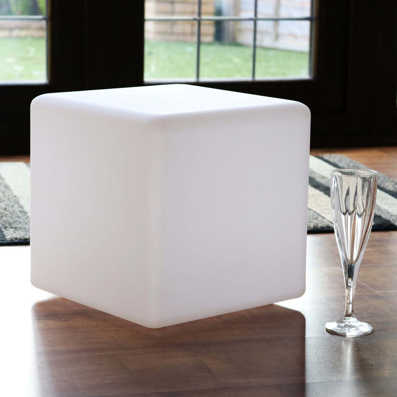 Modern Table Lamp, 30cm LED Cube Bedside Light + Warm White E27 Bulb