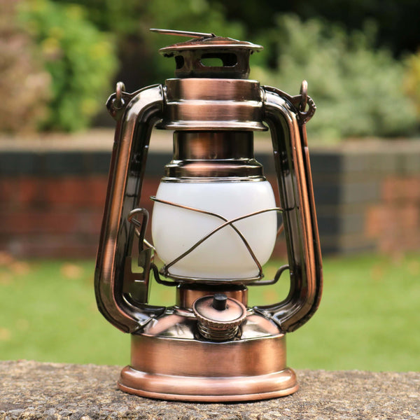 Battery Hurricane Lamp, Bronze LED Hanging Lantern Light