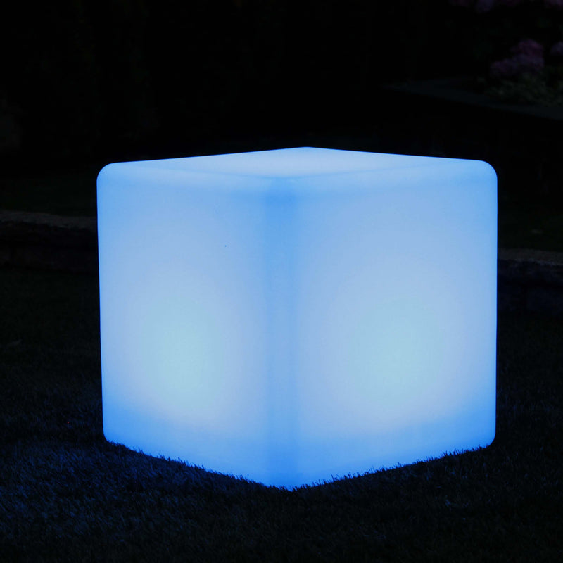40cm LED cube stool glowing blue