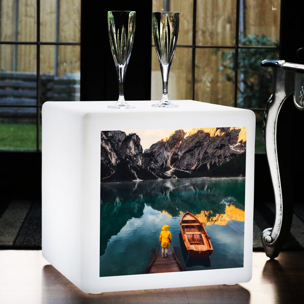 Personalised Illuminated Photo Cube, Custom LED Stool Seat Furniture, 40 x 40 cm
