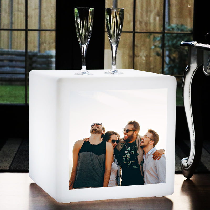 Personalised LED Stool Cube Seat, Photo Light Box, 50 x 50 cm Customised Furniture