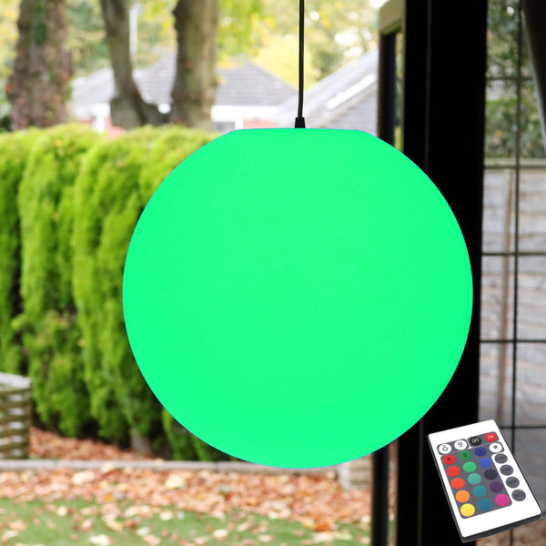 Rechargeable LED Hanging Pendant Light, 40cm Colour Changing Ball Orb
