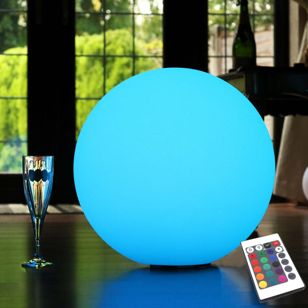 40cm Rechargeable RGB Sphere Floor Light, Colour Changing + Remote