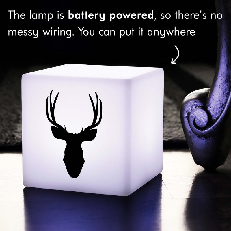 Funky Gift Lamp, Living Room Colour Change Battery Operated Table Lamp for Hotel, Cube , Deerhead Gift Lamp
