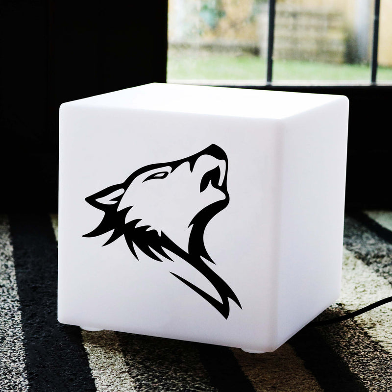 Quirky Gift Lamp, Lounge Table Bedside Lamp for Bar, Cube , E27, White, Wolf Gift Lamp