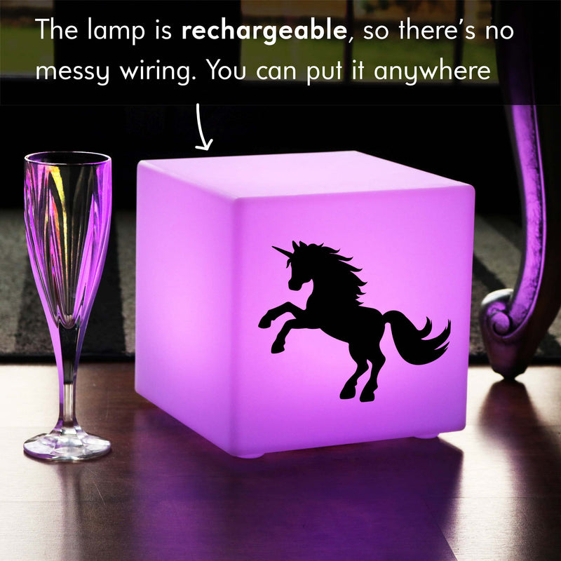 Hand Crafted Light Gift for Her, Waterproof Multicolour Rechargeable Table Lamp for Nightclub, Cube , Unicorn Lamp