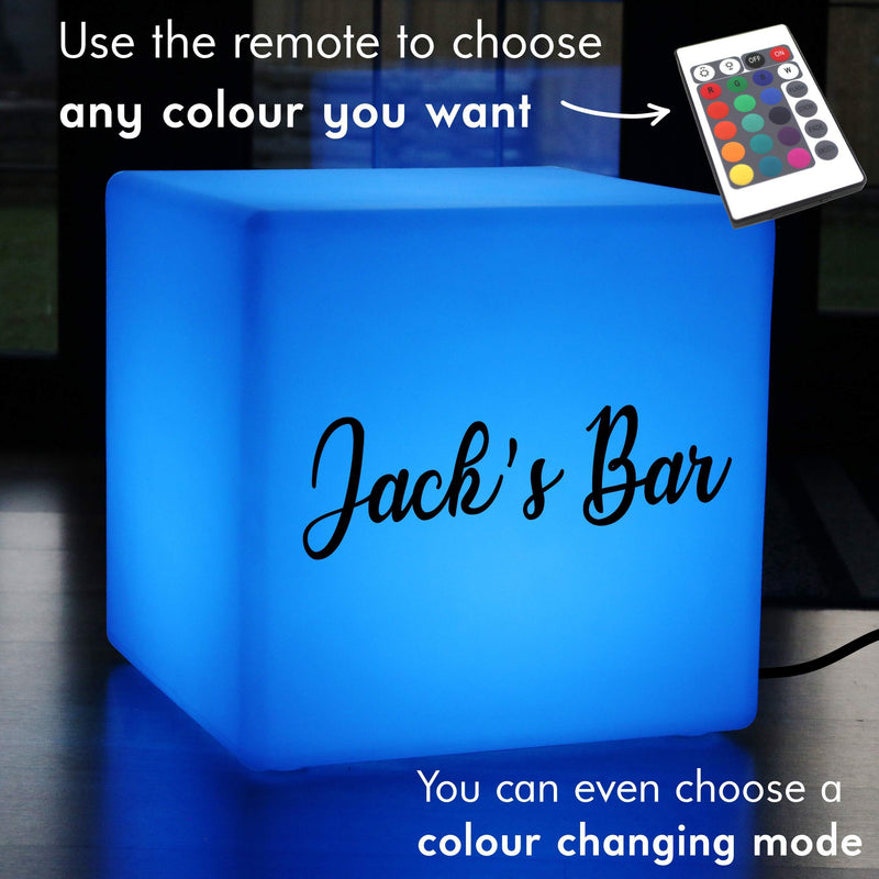 Bespoke Gift Lightbox, Lounge Colour Change LED Stool Seat for Nightclub, Cube 60 x 60 cm, Mains Powered