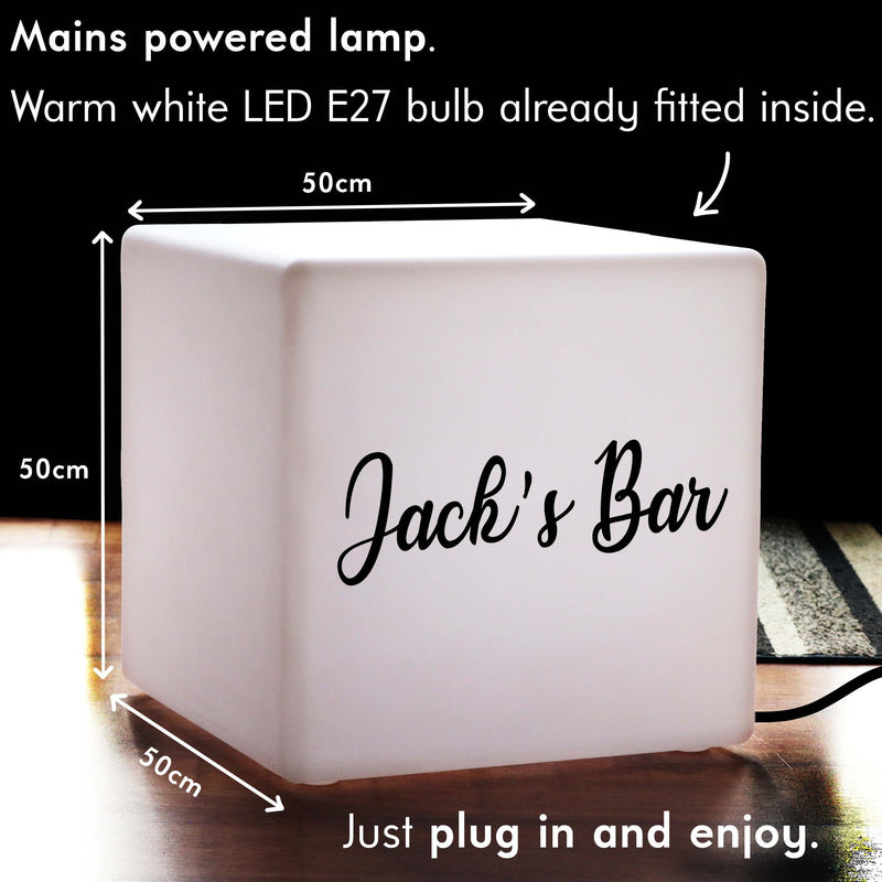 LED Stool Seat Side Table, Thoughtful Personalised Light Box for Birthday, Cube 50 cm, E27, Warm White