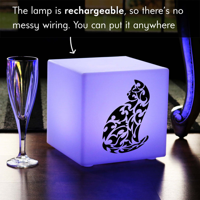 Hand Made Light Gift for Him, Living Room Colour Change Rechargeable Table Lamp for Anniversary, Cube , Cat Gift Light