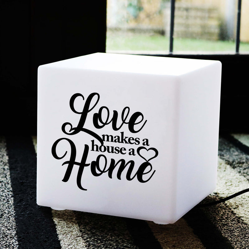Unique Handmade Light, Decorative Table Bedside Lamp for Wedding, Cube , E27, Warm White, Love Makes a House a Home Light Gift