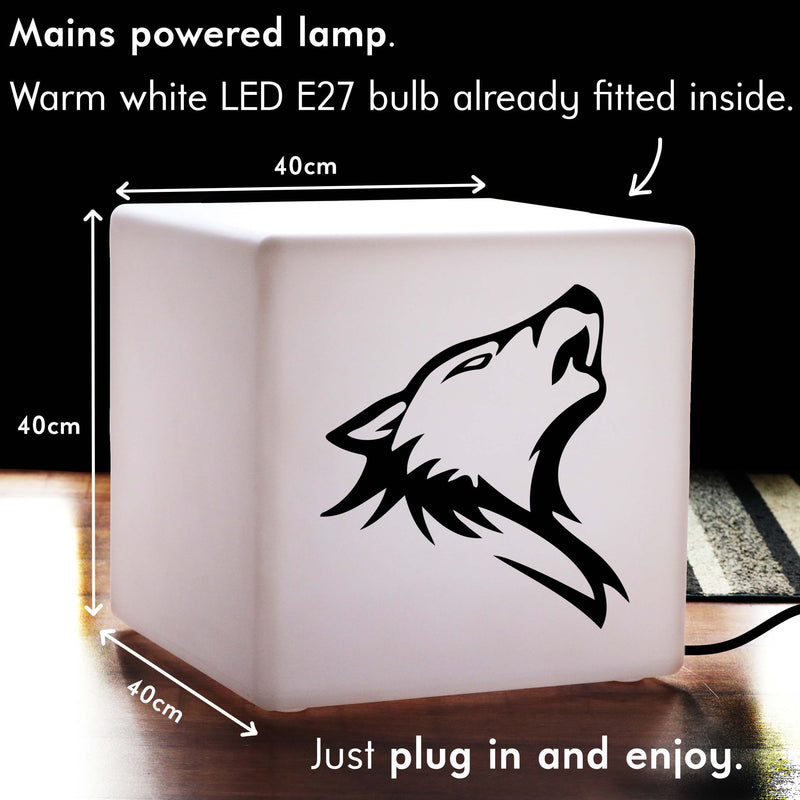 Unique Handmade Gift Light for Her, Decorative Illuminated Stool for Wedding, Cube , E27, Warm White, Wolf Head Lamp Gift