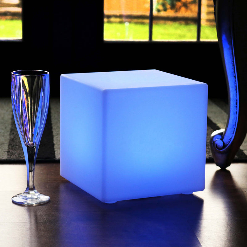 Modern Table Lamp with Remote, 20cm Rechargeable LED Cube Mood Light