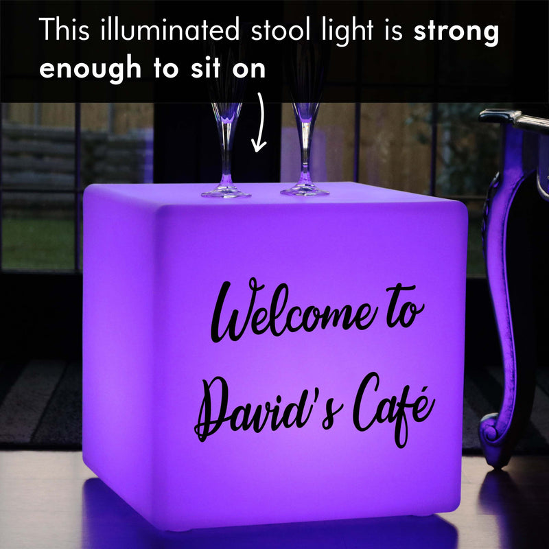 Personalised Sign Light Box, LED Dimmable Wireless Stool Seat Furniture for Anniversary, Cube 40 x 40 cm