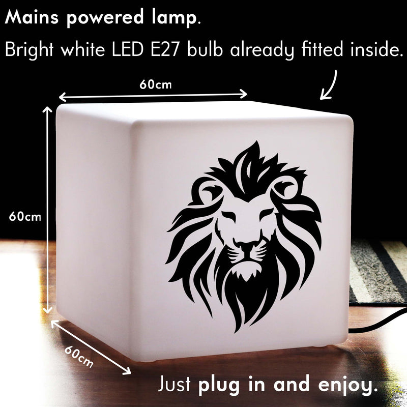 Funky Light Gift for Her, Bedroom LED Stool Seat for Hotel, Cube , E27, White, Lion Face Lamp Gift