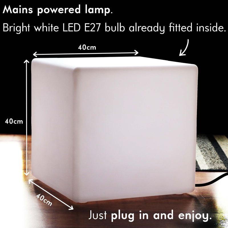 LED Cube Stool Table Light, 40 cm Designer Floor Lamp + White E27 Bulb