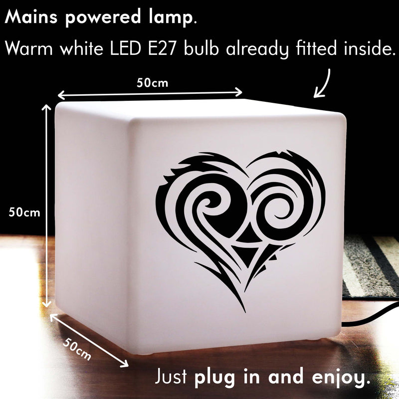 Original Gift Lamp, LED Stool Seat Side Table for Night Club, Cube , E27, Warm White, Love Heart Lamp
