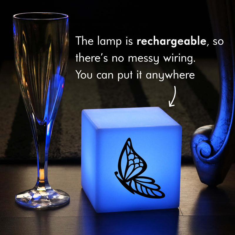 Funky Gift Light for Him, Living Room Multi Colour Rechargeable Bedside Lamp for Wedding, Cube , Butterfly Lamp