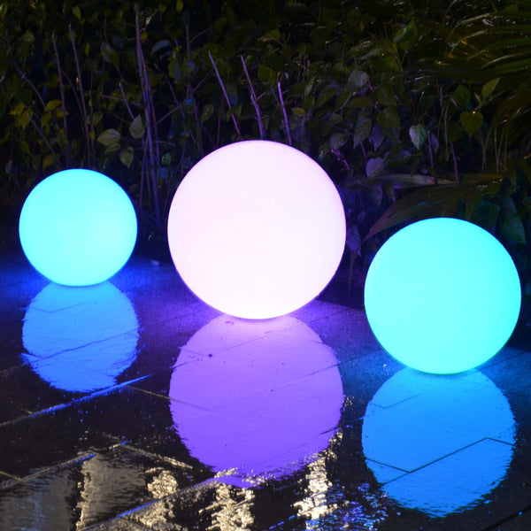 15cm LED Waterproof Orb Lights, IP67 Outdoor Floating Spheres - Set of 2