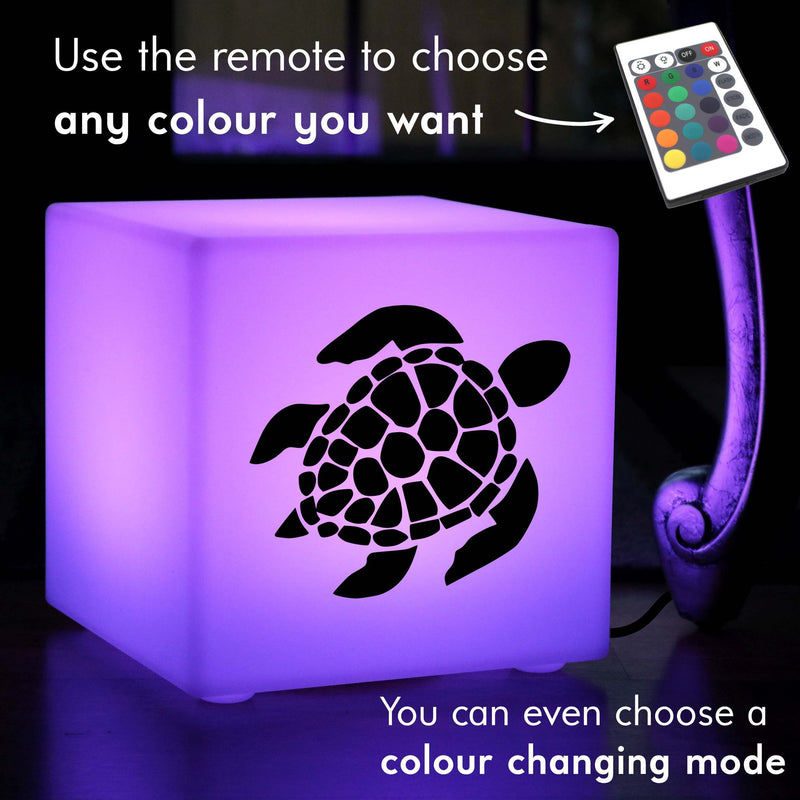 Unique Handmade Gift Light Box, LED Remote Controlled Table Lamp for Decoration, Cube , Mains Powered, Sea Turtle Gift Lamp