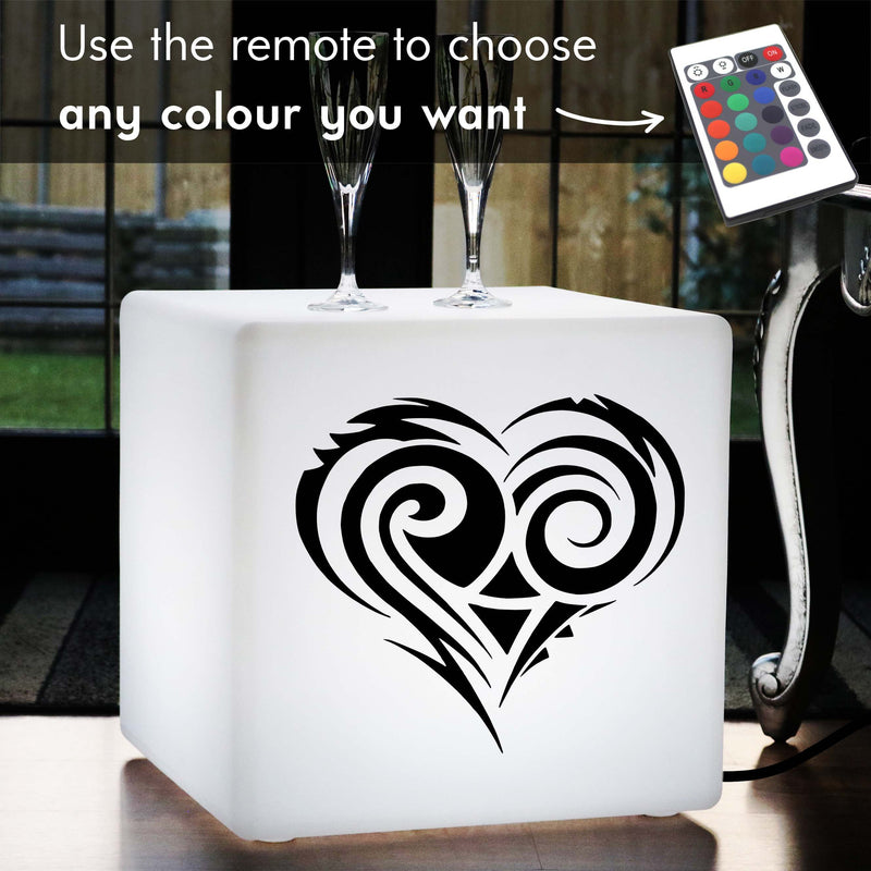 Hand Crafted Light, LED Colour Changing Illuminated Stool for Restaurant, Cube , Mains Powered, Love Heart Lamp Gift