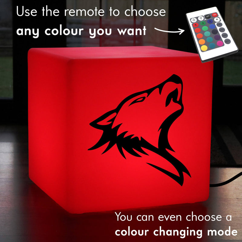 Creative Gift Light Box, Living Room Multicolour Light Up Seat for Hotel, Cube , Mains Powered, Wolf Head Light Gift