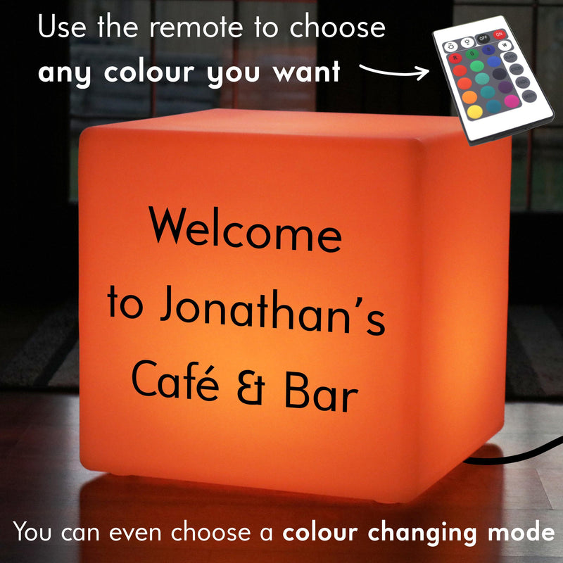 Colour Changing Living Room LED Stool, Branded Gift Lightbox for Decoration, Cube 50cm, Mains Powered