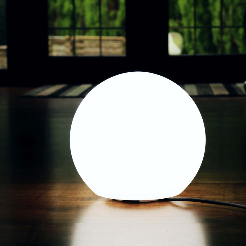 LED Modern Sphere Table Light, Mains Powered White Orb