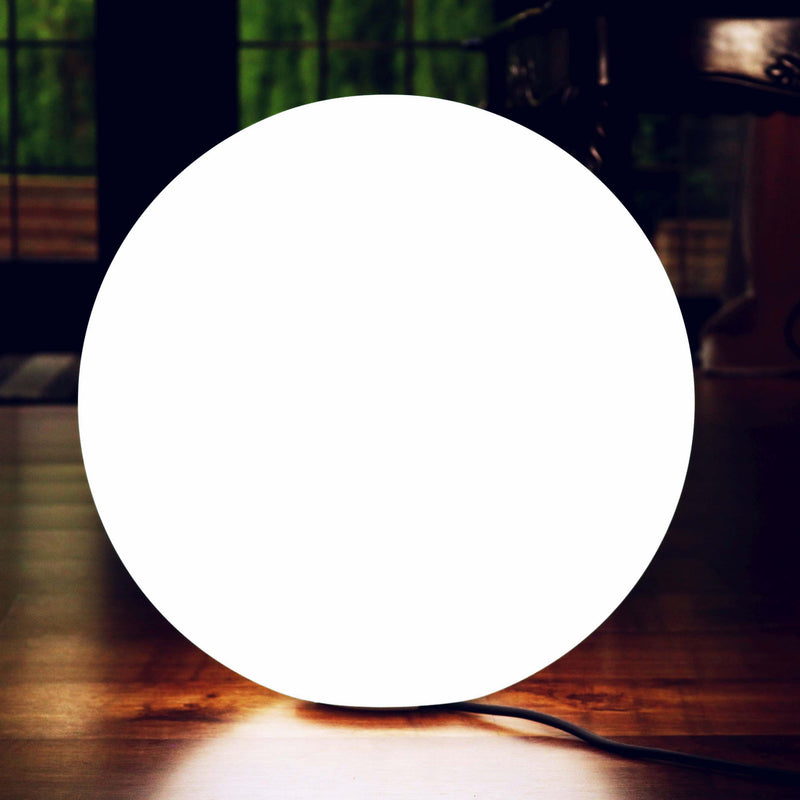 40cm White LED Floor Lamp, Dimmable Orb Mains Operated