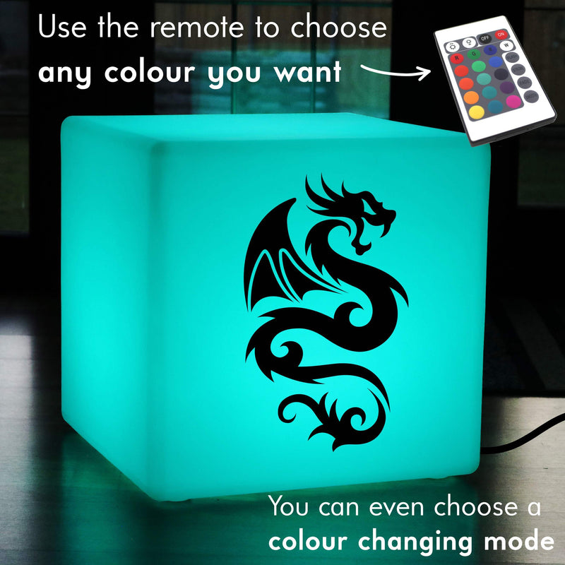 Hand Made Gift Lightbox, Modern RGB Stool Seat Furniture for Anniversary, Cube , Mains Powered, Chinese Dragon Light Gift