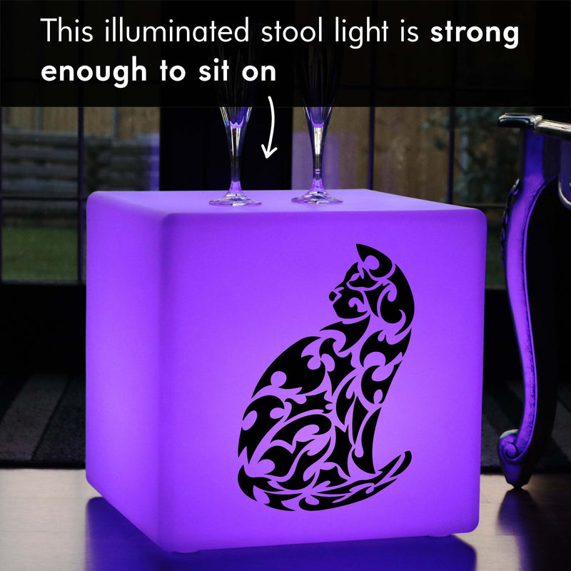Original Handcrafted Light Gift for Him, LED Colour Change Rechargeable Illuminated Stool for Wedding, Cube , Car Gift Lamp