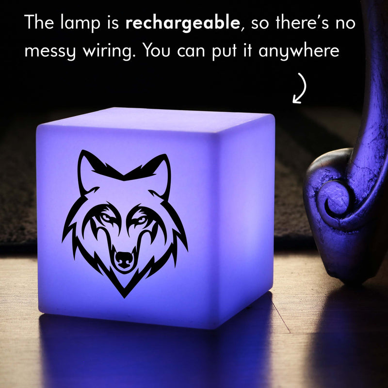 Funky Light Gift for Him, LED Ambient Rechargeable Bedside Lamp for Wedding, Cube , Wolf Gift Light
