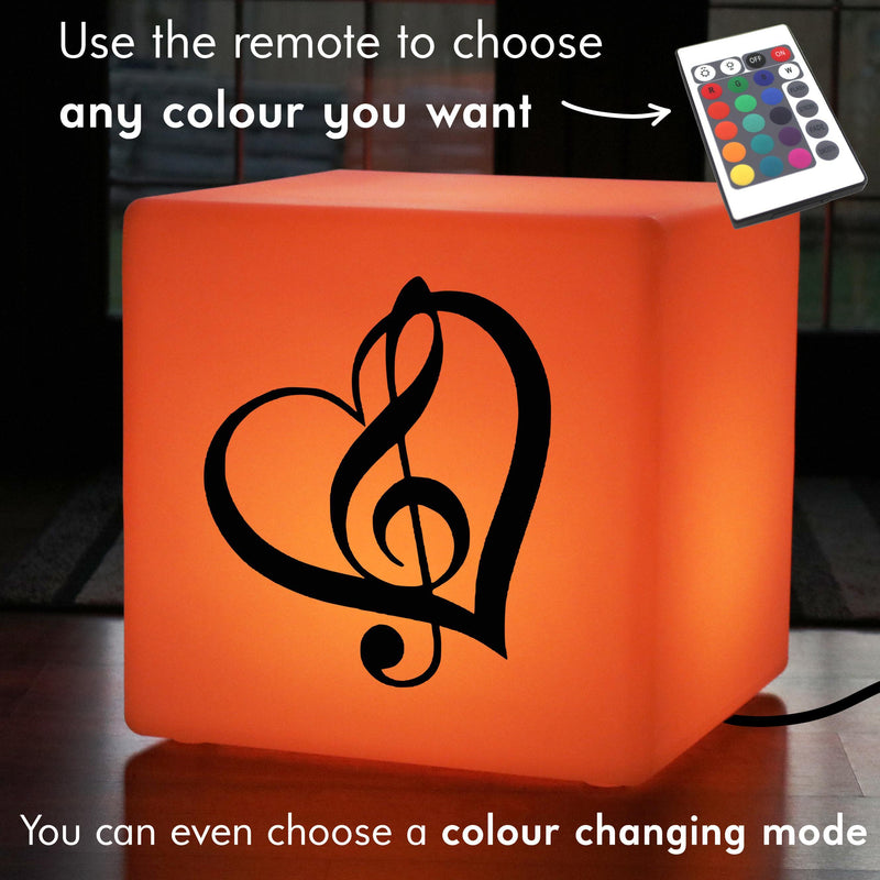 Original Handcrafted Gift Lightbox, Modern Colour Change LED Stool Seat for Wedding, Cube , Mains Powered, Treble Clef Music Light Gift