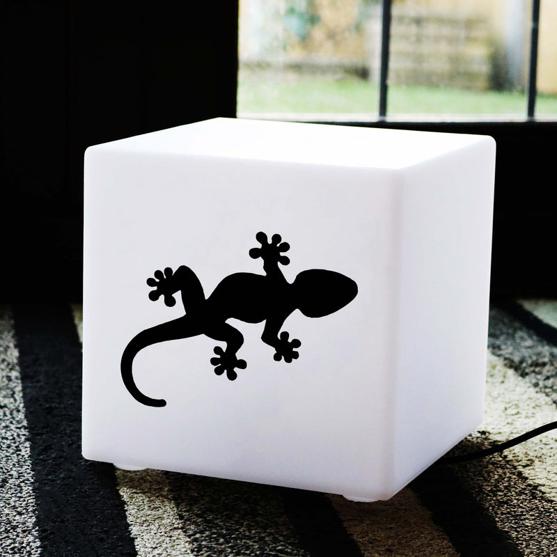 Original Handmade Gift Light Box, LED Table Bedside Lamp for Hotel, Cube , E27, Warm White, Geko Gift Lamp