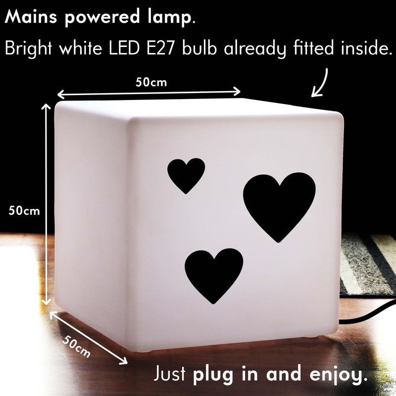 Unique Handcrafted Gift Lightbox, Lounge Illuminated Stool for Nightclub, Cube , E27, White, Love Hearts Valentine's Gift Light Gift
